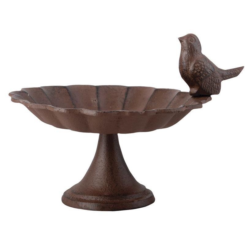 Vogelbad-voederschaal op voet gietijzer 15 cm