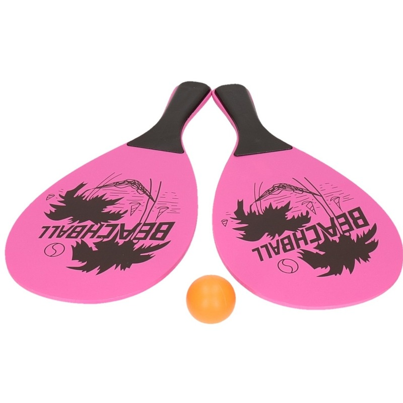 Voordelig strand tennis/beachball set roze