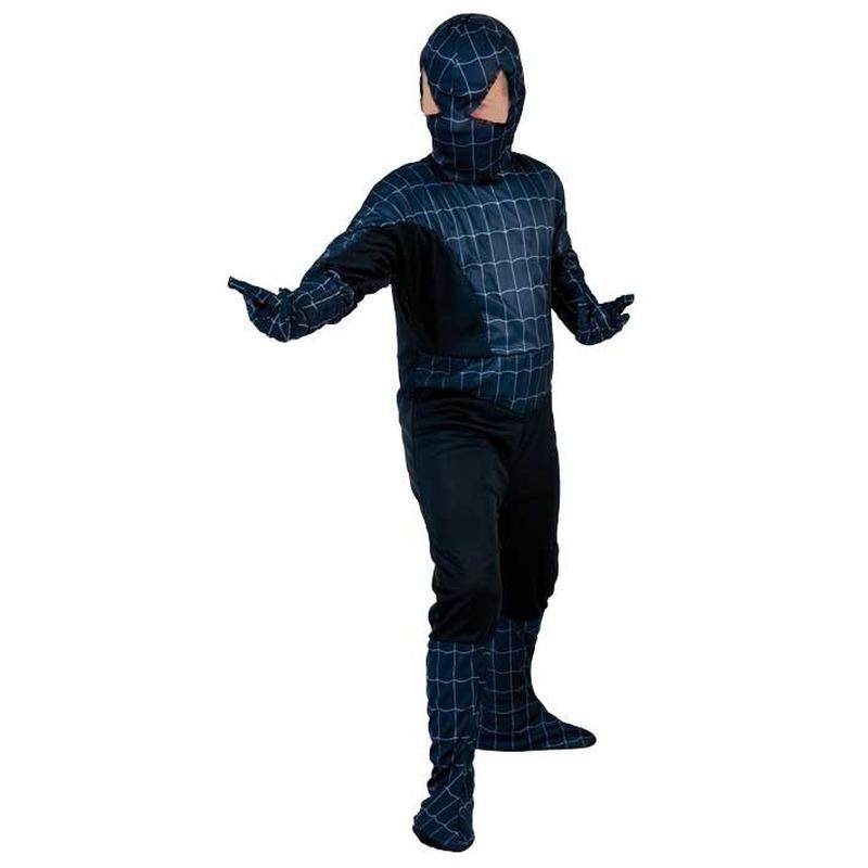 Voordelig zwarte spinnenheld kostuum voor jongens
