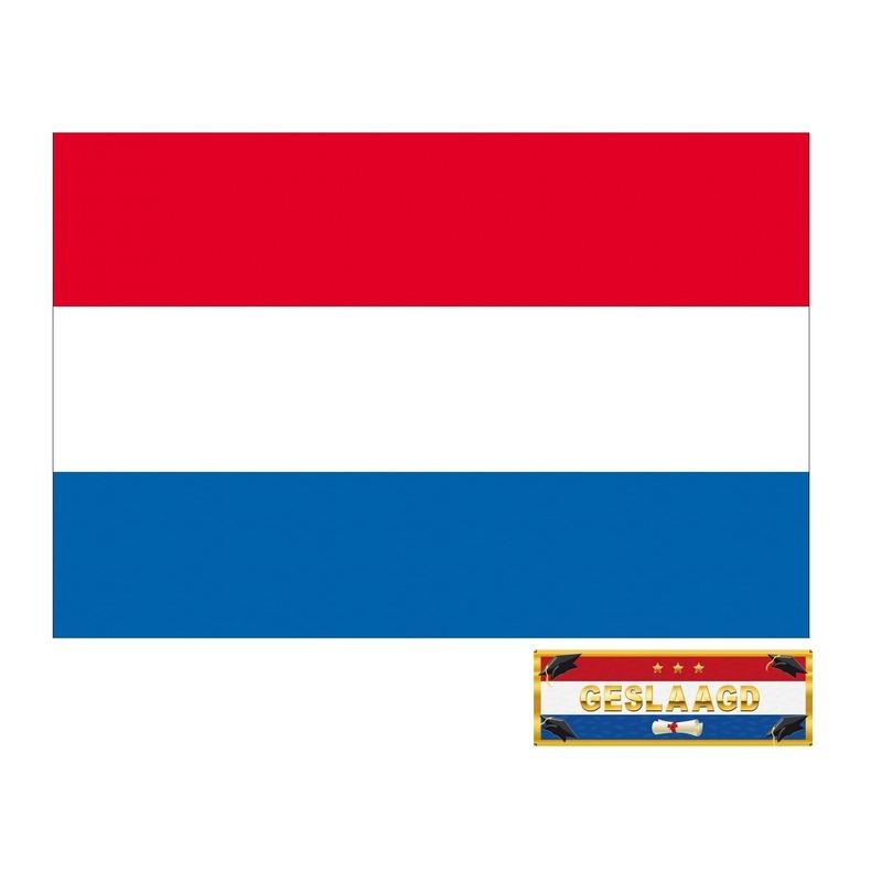 Voordelige Nederland geslaagd vlag 150 cm met gratis sticker