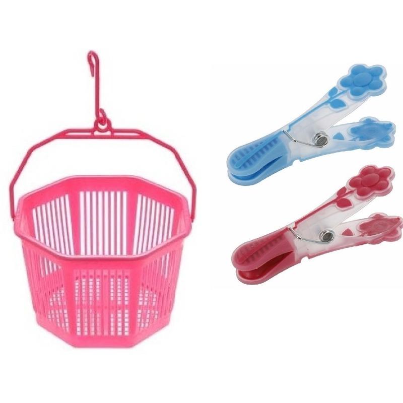 Wasknijper mandje roze met haak en 20 wasknijpers