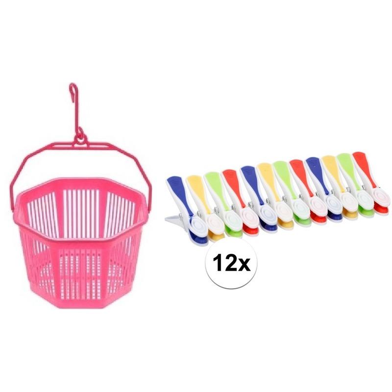 Wasknijper mandje roze met haak en 24 gekleurde wasknijpers