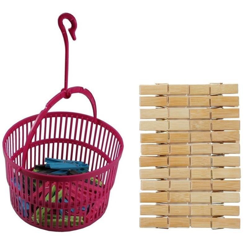 Wasknijper mandje roze met haak en 24 houten wasknijpers