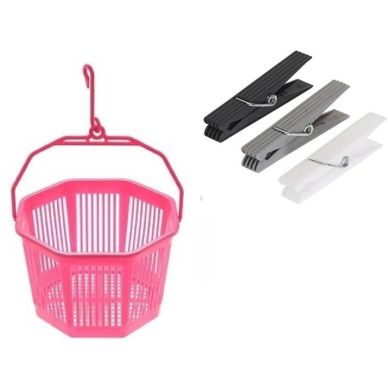 Wasknijper mandje roze met haak en 24 wasknijpers