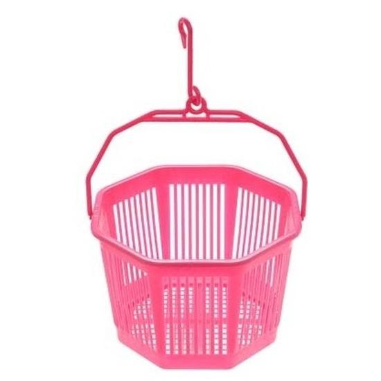 Wasknijper mandje roze met haak