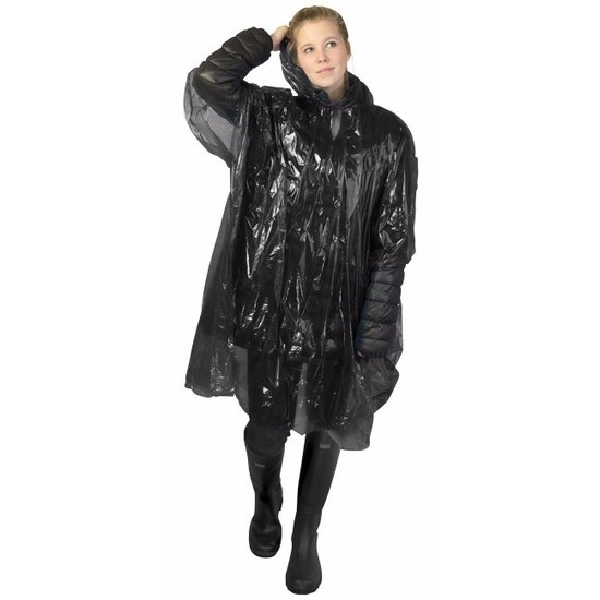 Wegwerp regenponcho zwart