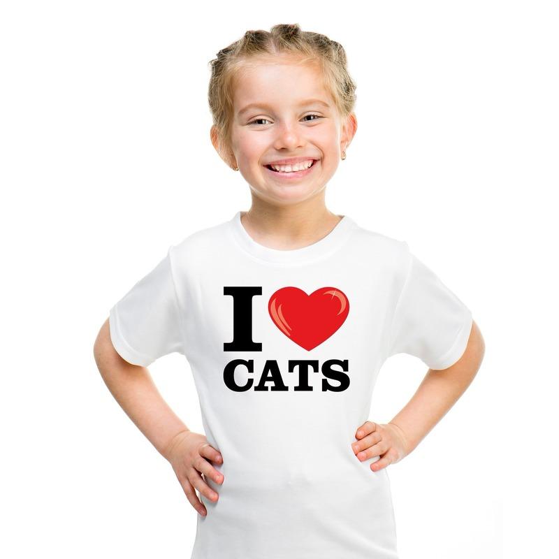 Wit I love cats/ katten/ poezen t-shirt kinderen