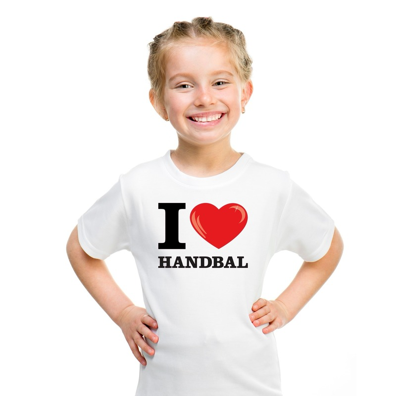 Wit I love handbal t-shirt kinderen