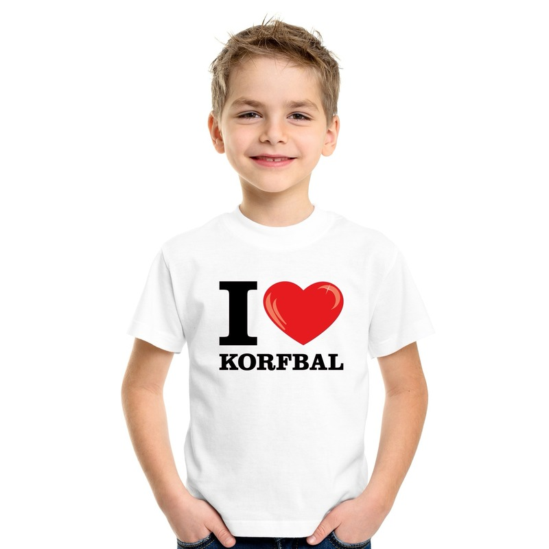 Wit I love korfbal t-shirt kinderen