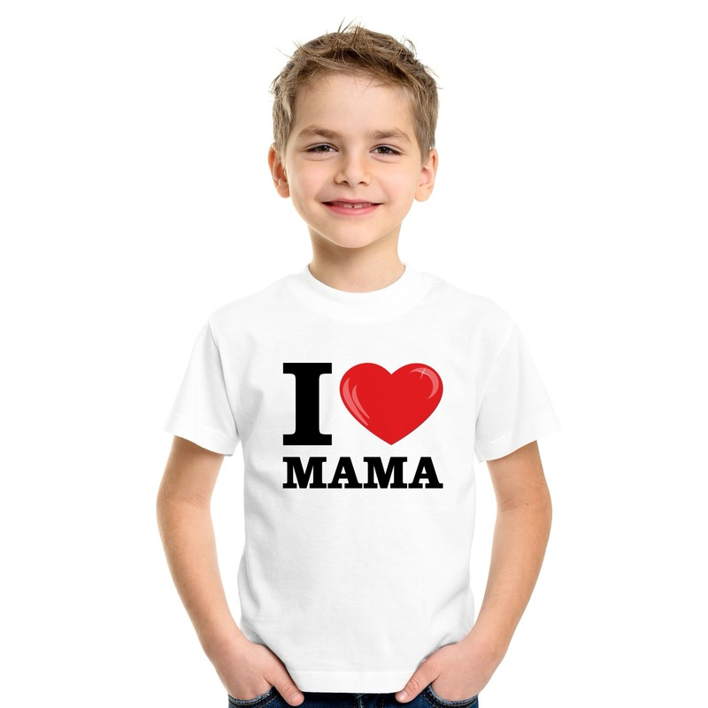 Wit I love Mama t-shirt kinderen