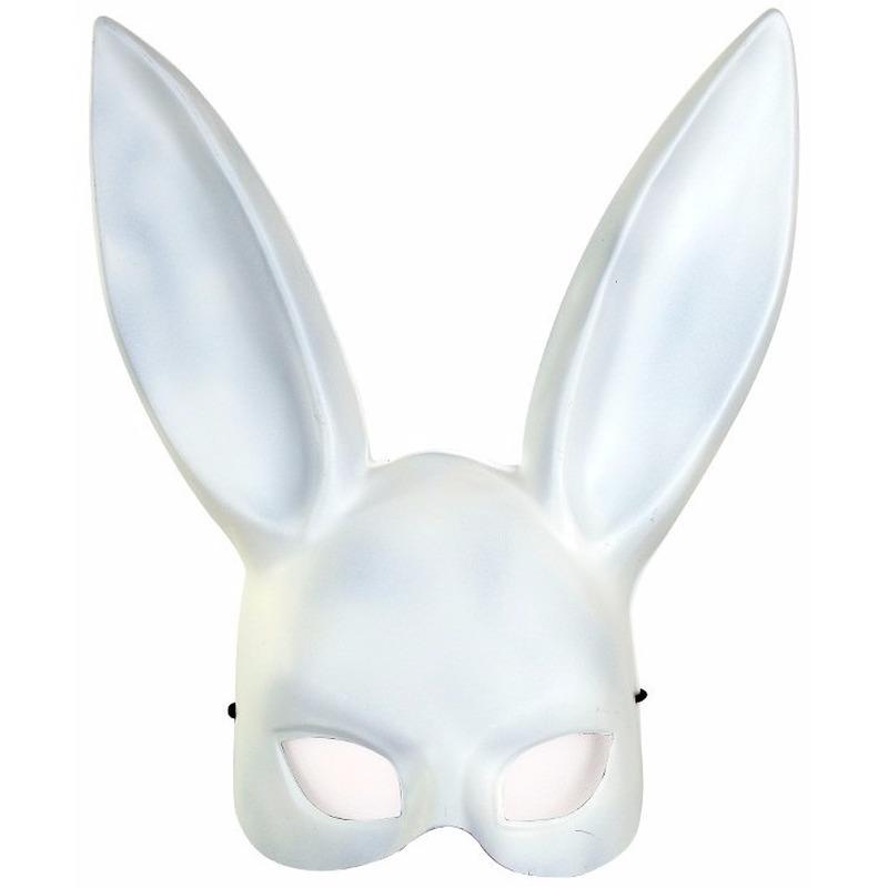 Wit konijnen/hazen masker voor volwassenen