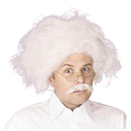 Witte Einstein pruik met snor