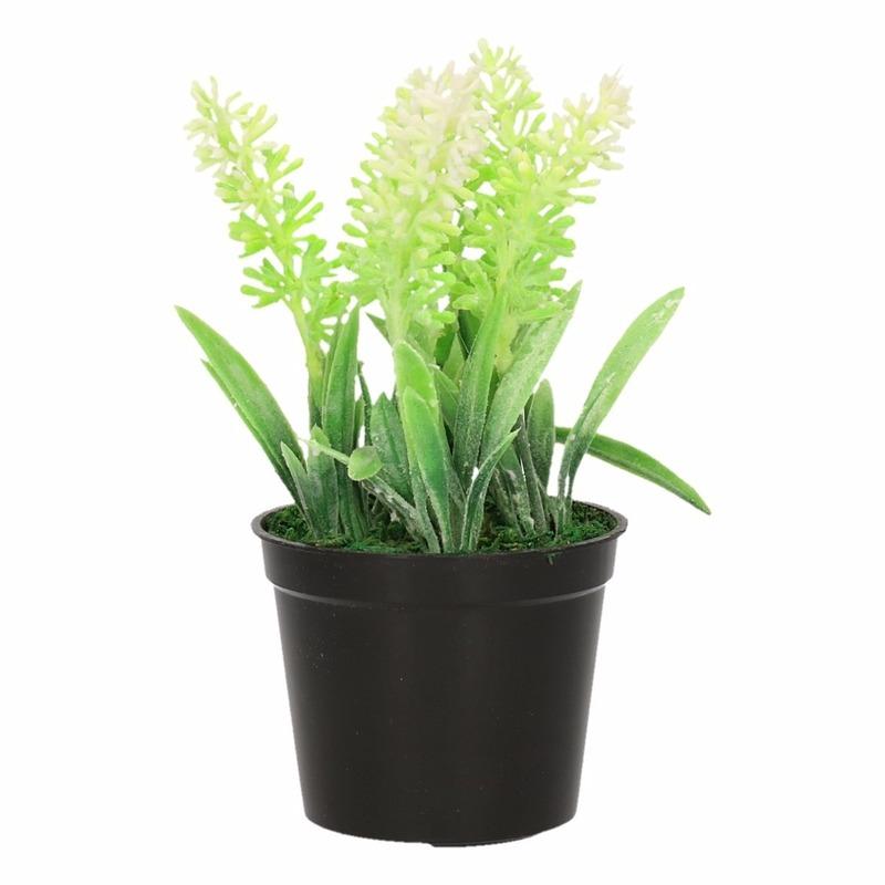 Witte Lavendula/lavendel kunstplant 16 cm in zwarte pot