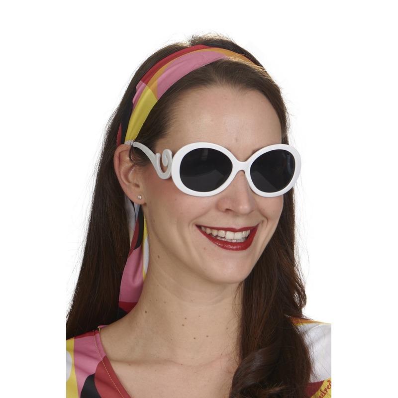 Witte verkleed zonnebril rond voor dames