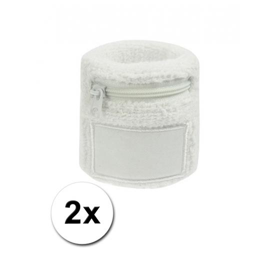 Witte zweetband met ritsje 2 stuks