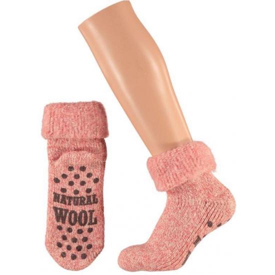 Wollen huissokken/slofsokken voor dames roze