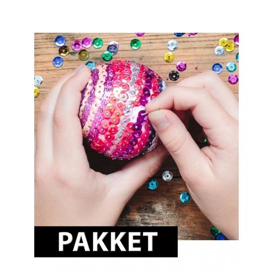 Zelf 5x pailletten kerstballen maken set 12 cm