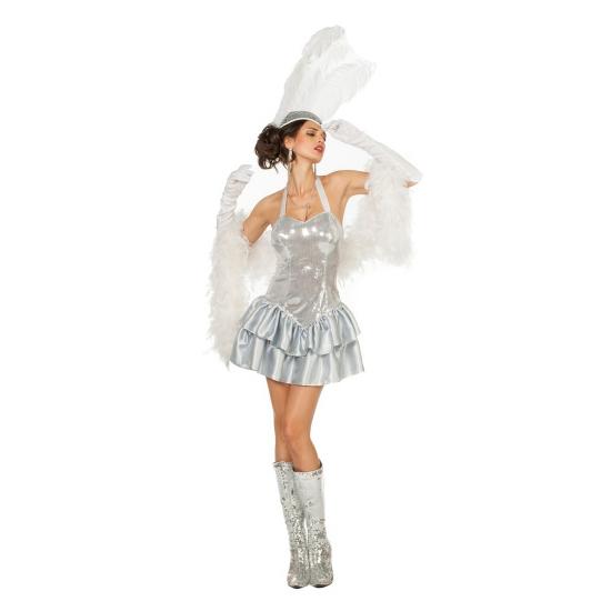 Zilveren halter jurk met pailletten dames