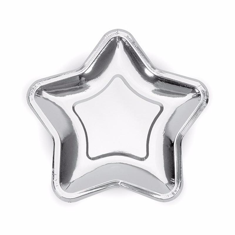 Zilveren kartonnen bordjes ster 18 cm