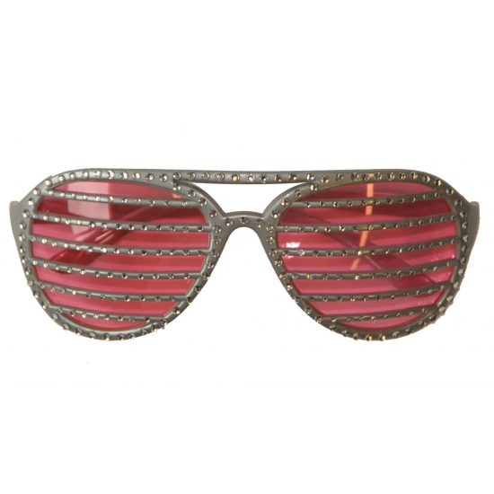 Zilveren lamellen bril met diamant