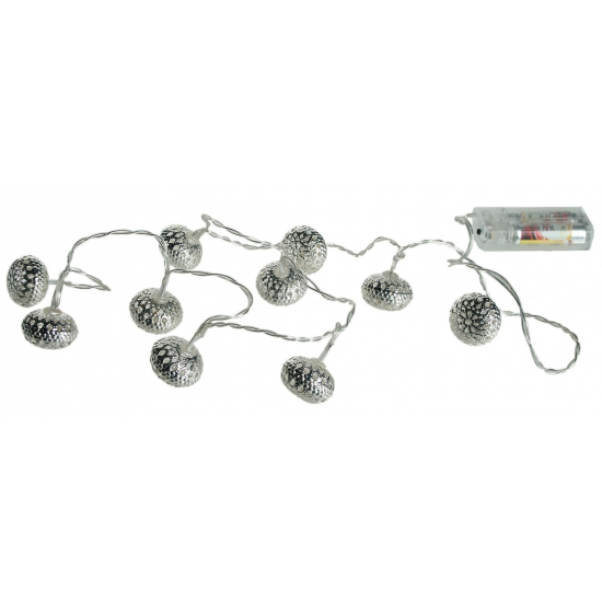 Zilveren LED ballen aan snoer