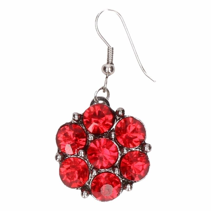 Zilveren prinsessen oorbellen rode bloemvoor volwassenen
