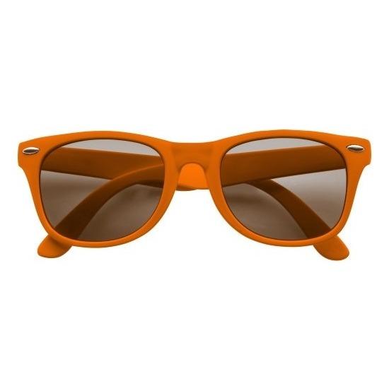 Zonnebril oranje plastic montuur voor volwassenen