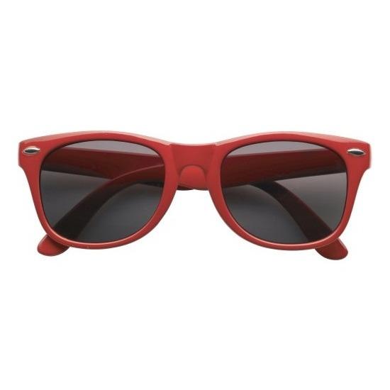 Zonnebril rood plastic montuur voor volwassenen