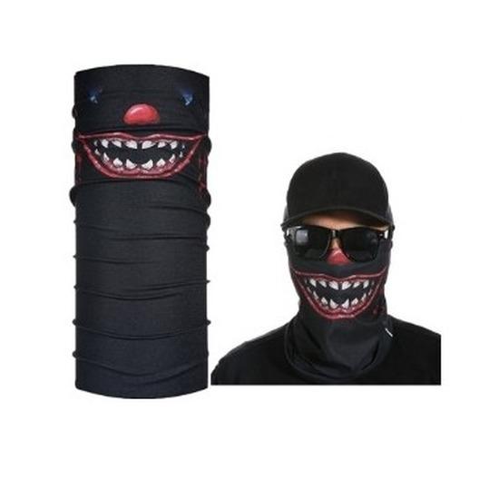 Zwart horror/eng gezicht biker masker voor volwassennen