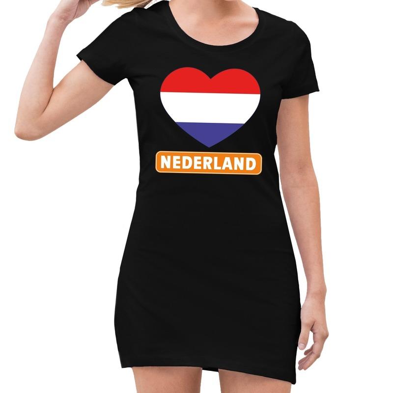 Zwart Nederland met rood wit blauw hart jurk dames