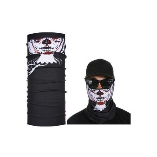 Zwart skelet biker masker voor volwassennen