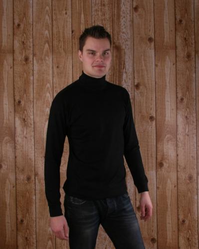 Zwart t-shirt met col en lange mouw heren
