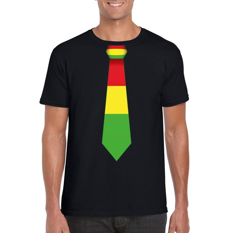 Zwart t-shirt met Limburgse vlag stropdas voor heren