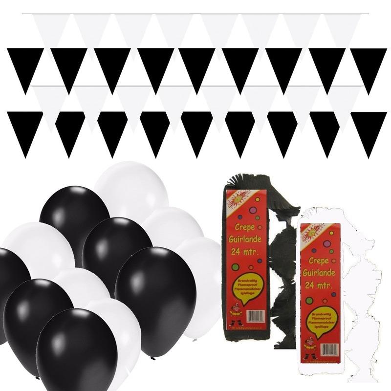 Zwart-Witte feest versiering pakket huiskamer