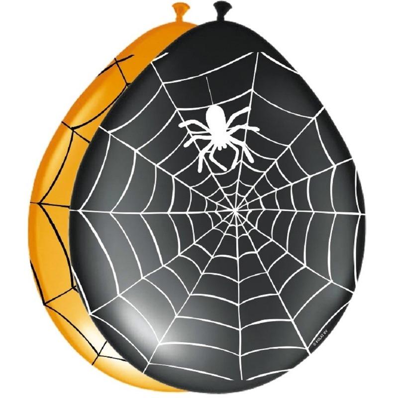 Zwarte en oranje ballonnen met spinnenweb 8 stuks halloween