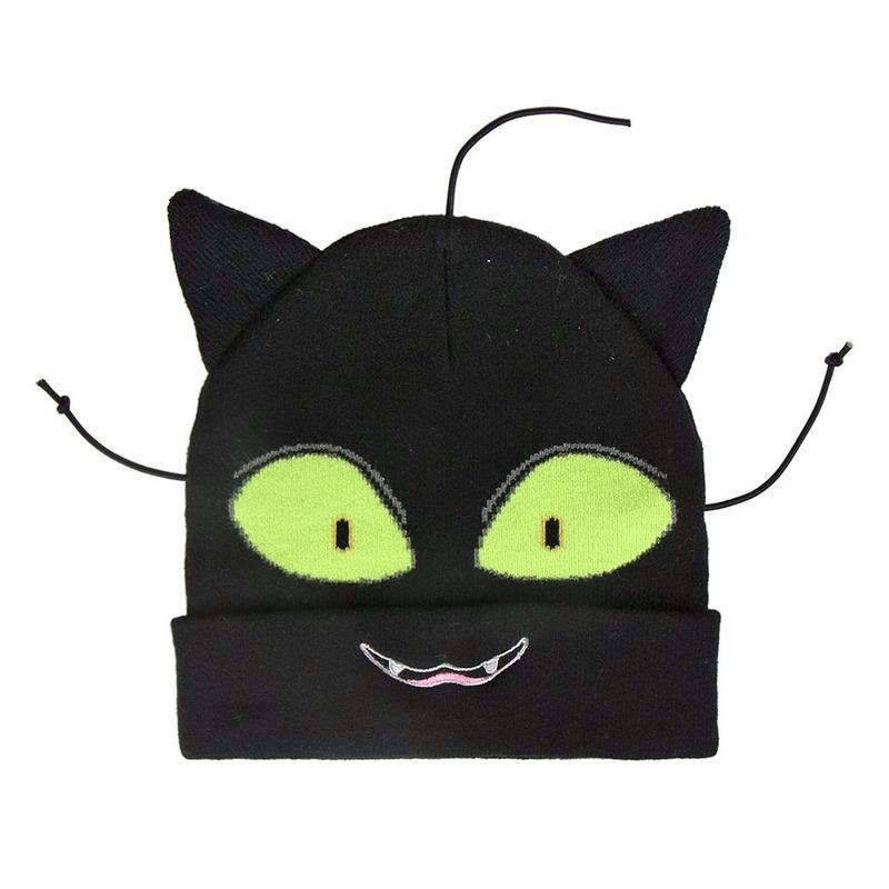 Zwarte katten/poezen muts voor jongens