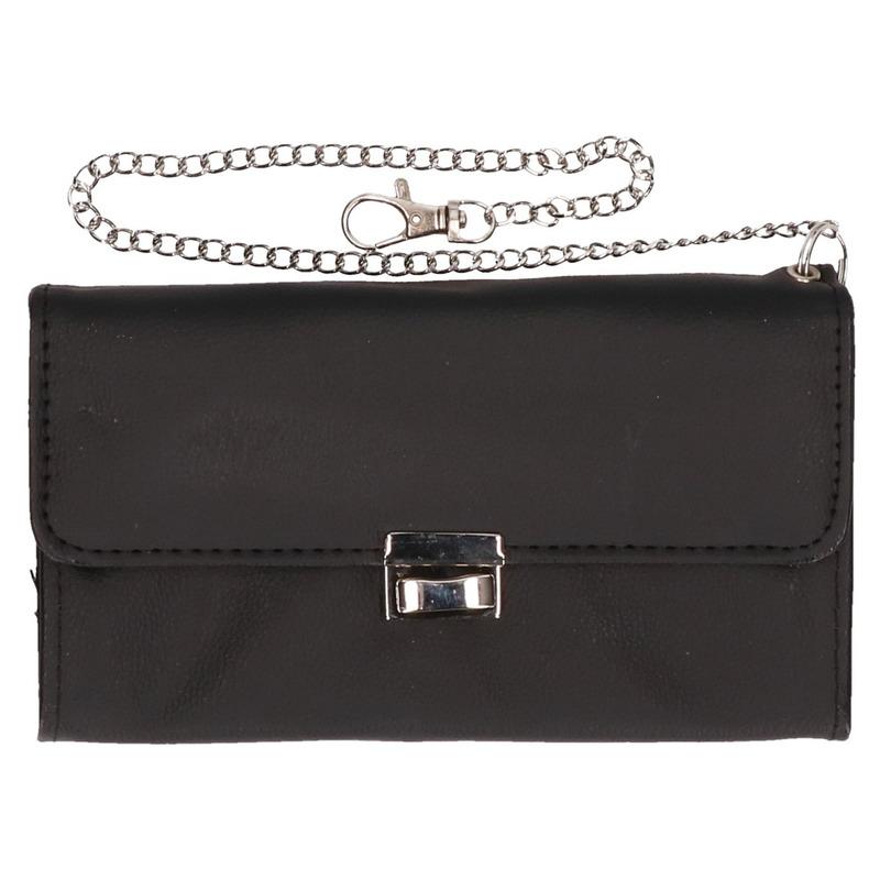 Zwarte kelner/ taxi portemonnee met veiligheids kettinkje 18 cm