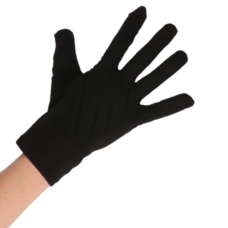 Zwarte korte boeven handschoenen voor volwassenen