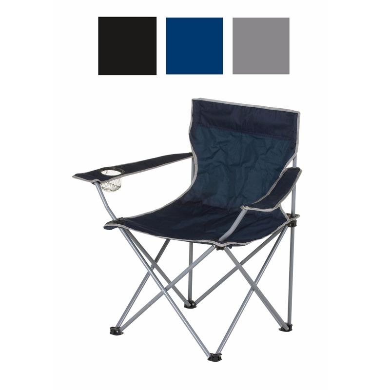 Zwarte opvouwbare campingstoel