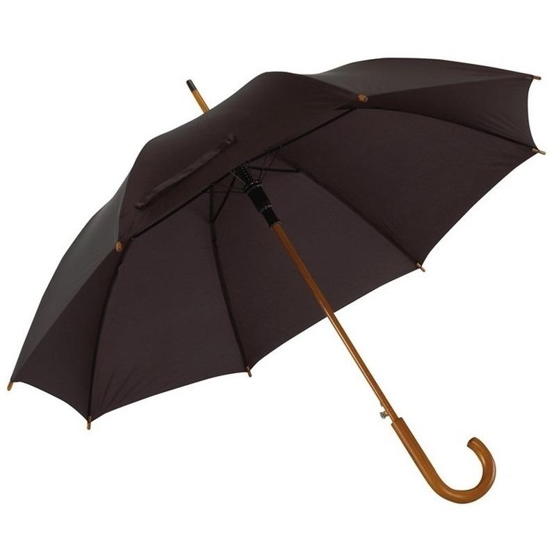 Zwarte paraplu met houten handvat 103 cm