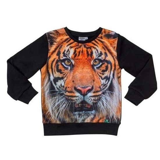 Zwarte sweater met tijger voor kinderen