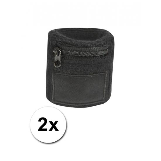 Zwarte zweetband met ritsje 2 stuks