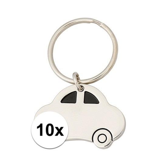 10x Sleutelhanger met auto van 4,5 cm Cadeau /jubileum–geslaagd/rijbewijs