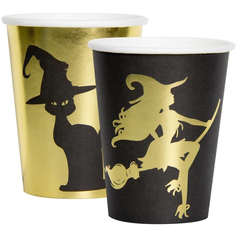 16x Heksen/zwarte kat thema bekers 250 ml