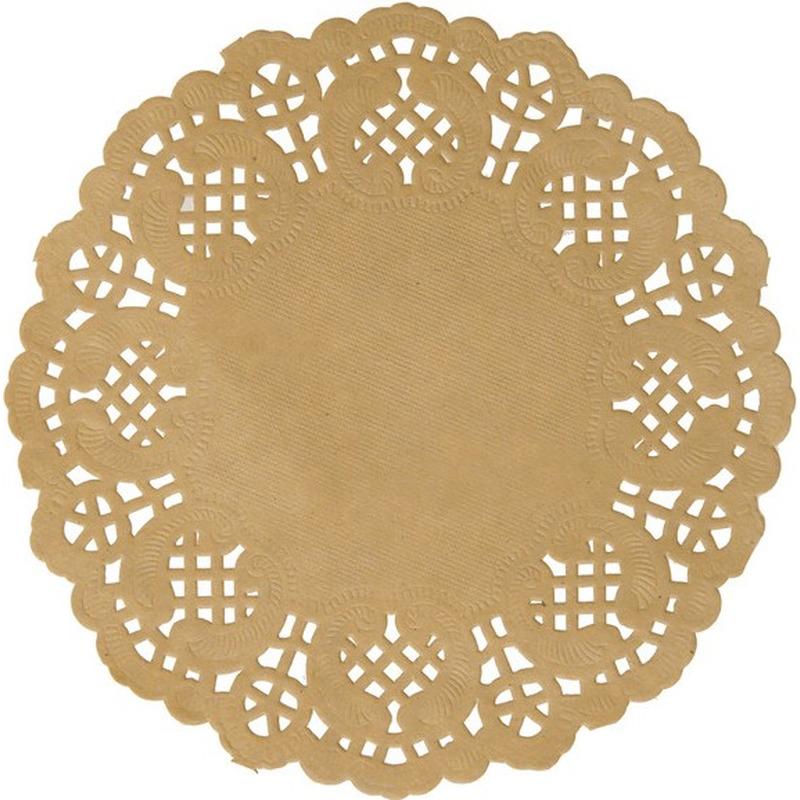 20x Bruine/naturel ronde placemats 35 cm papier kant uiterlijk