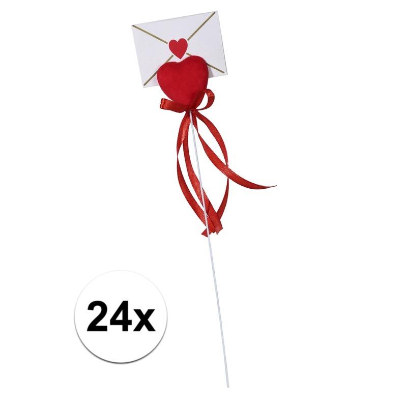 24x Hartje op stok met enveloppe kaartje voor Valentijn