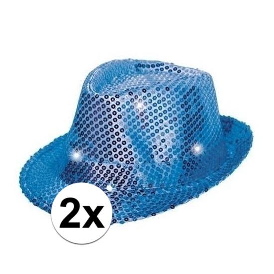 2x Blauwe pailletten hoedjes met LED licht