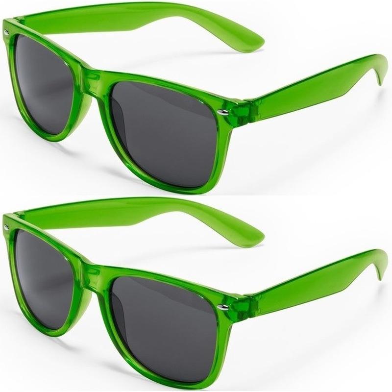 2x Groene retro model zonnebril voor volwassenen