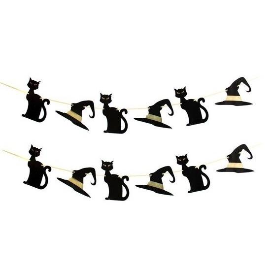 2x Heksen/zwarte kat thema slingers 3 meter