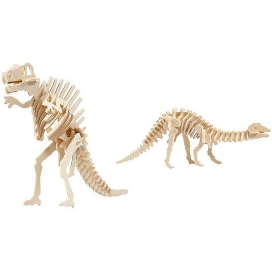 2x Houten bouwpakketten Spinosaurus en Apatosaurus dinosaurus